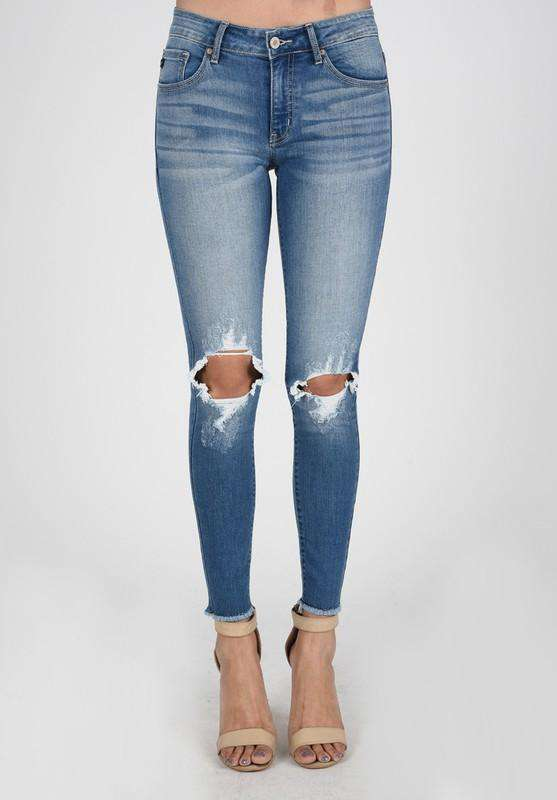 Kea Light Wash Ripped Jean - SexyModest Boutique