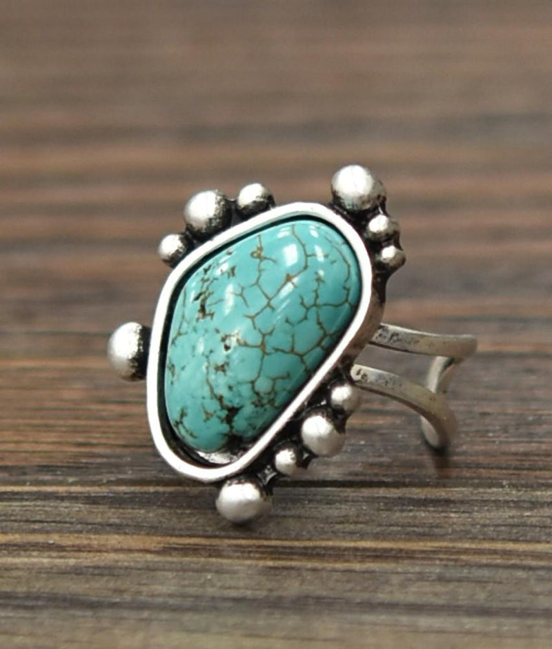 Natural Turquoise Adjustable Ring - SexyModest Boutique