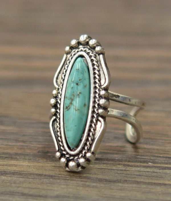 Skinny Oval Turquoise Adjustable Ring - SexyModest Boutique