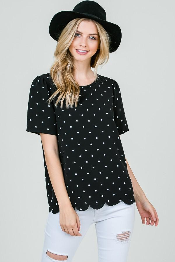 Jaci Polka Dot Top - SexyModest Boutique