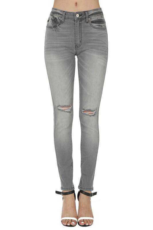 Kiri Gray Wash High Rise Skinny - SexyModest Boutique