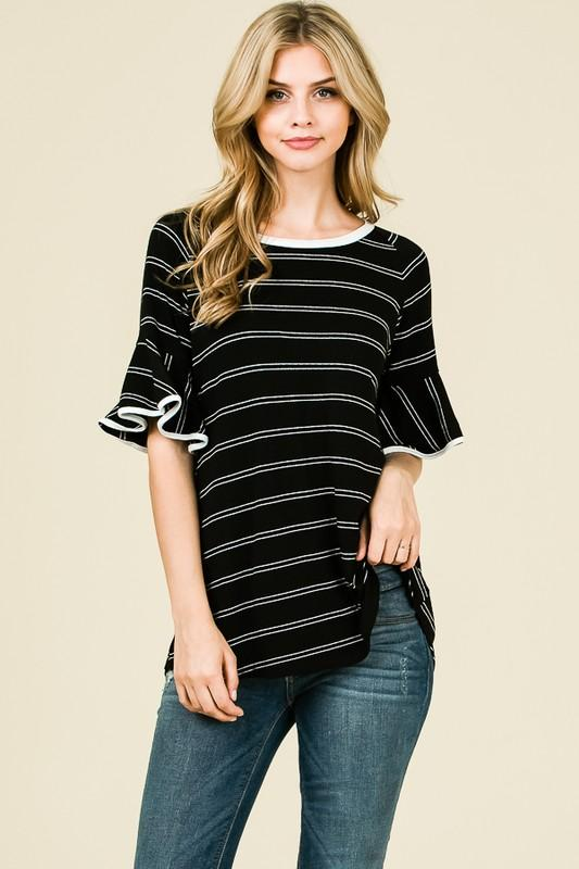 Camille Ruffle Sleeve Top