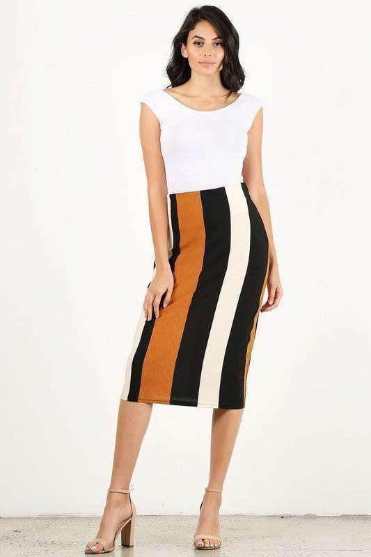 Lynn Striped Skirt - SexyModest Boutique