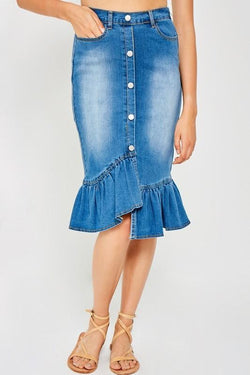 Brielle Denim Ruffle Skirt - SexyModest Boutique