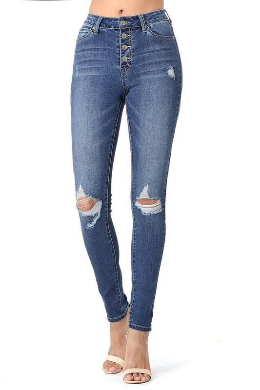 Mia ButtonDown Skinny Jeans - SexyModest Boutique