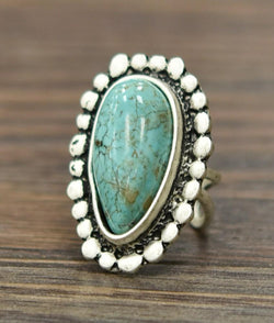 Teardrop Adjustable Turquoise Ring - SexyModest Boutique