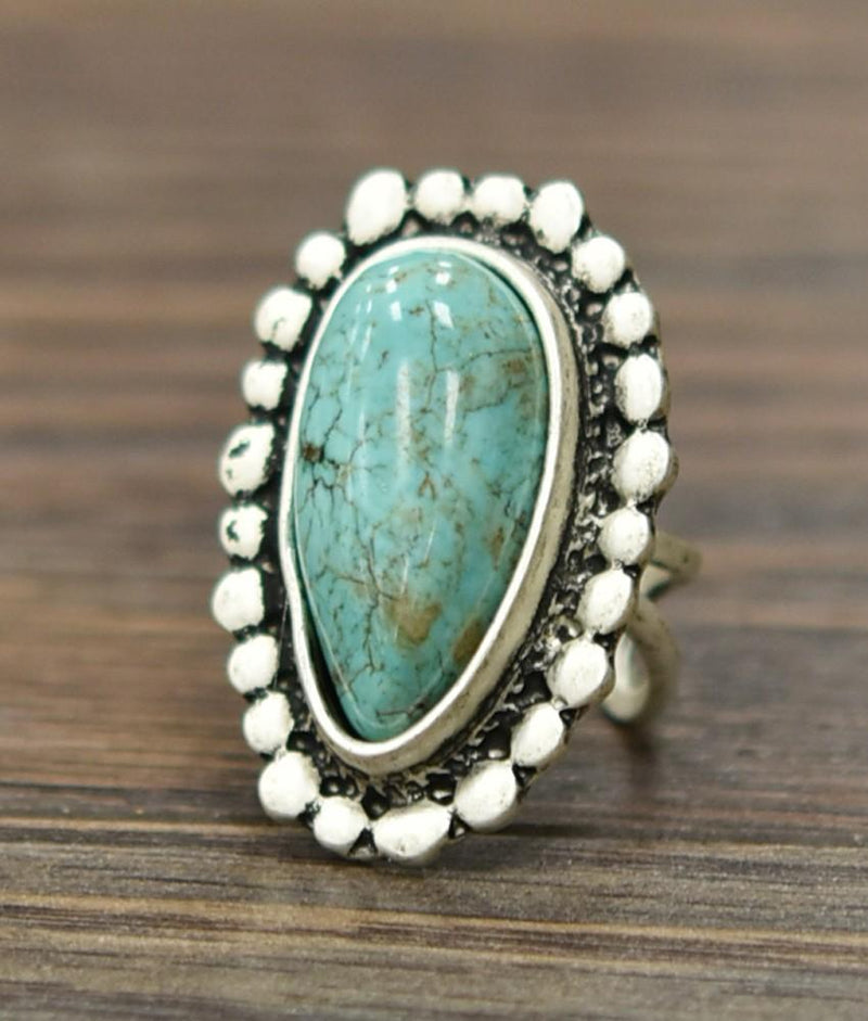 Large Teardrop Turquoise Adjustable Ring - SexyModest Boutique
