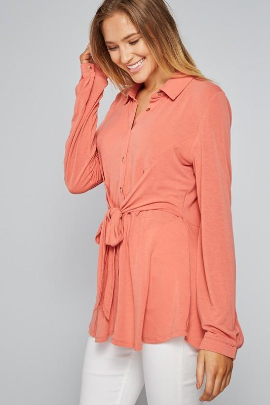 Fun Life Front Tie Blouse - SexyModest Boutique