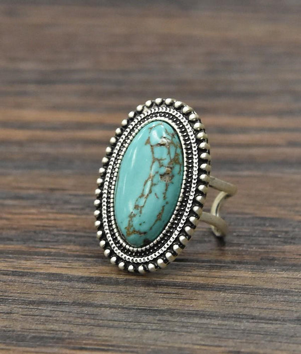 Oval Turquoise Adjustable Ring - SexyModest Boutique