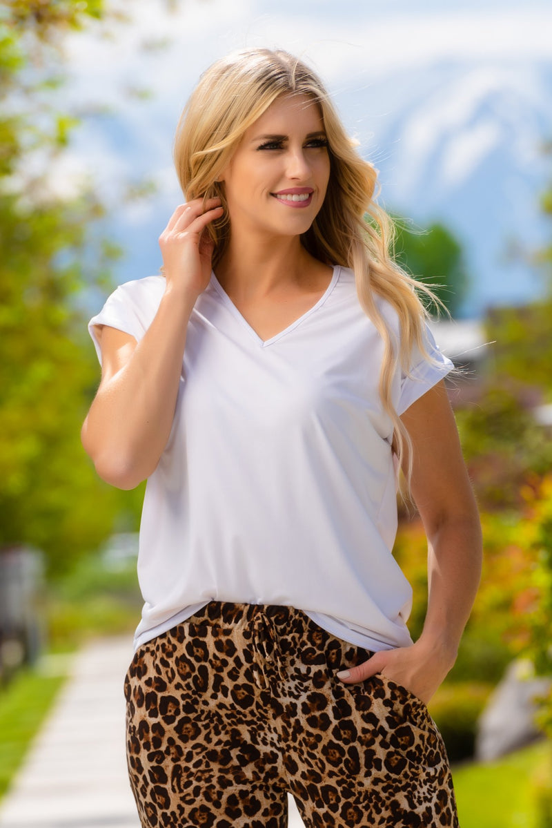 Brigitte Brianna Non See-Through White Blouse Tee - SexyModest Boutique