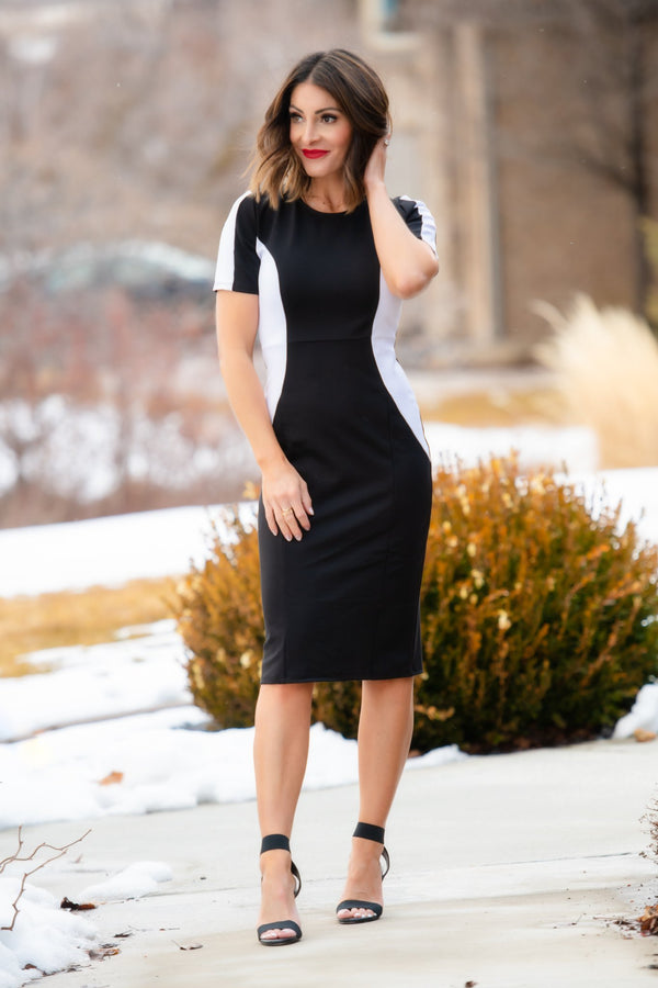Brigitte Brianna Black & White Dress - SexyModest Boutique
