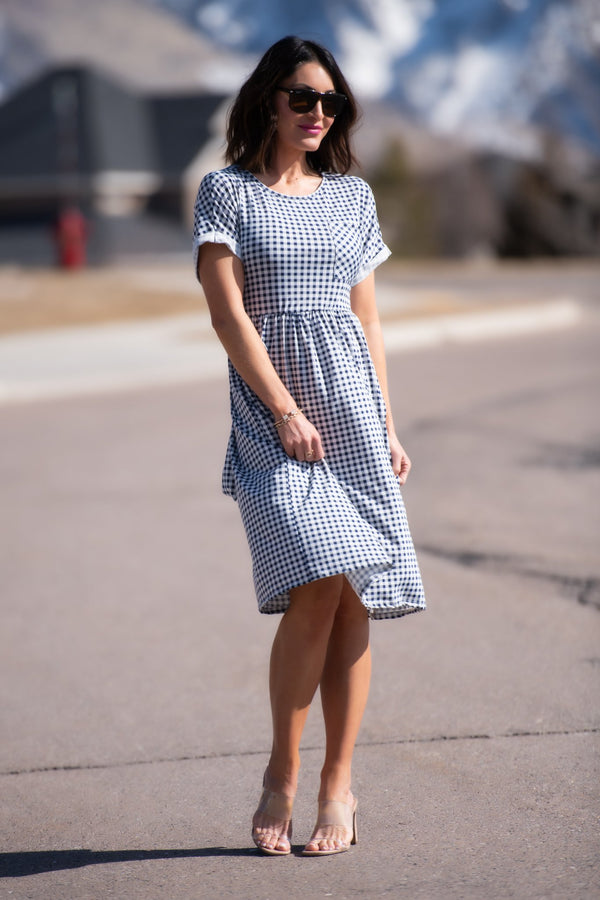 Eliza Checkered Print Dress - SexyModest Boutique