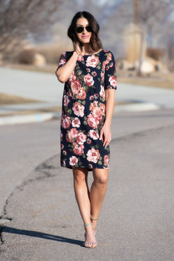 Brigitte Brianna Floral Shift Dress - SexyModest Boutique