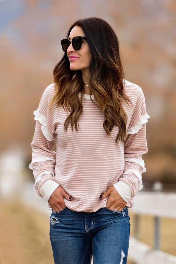 Brigitte Brianna Striped Ruffle Sleeve Sweatshirt
