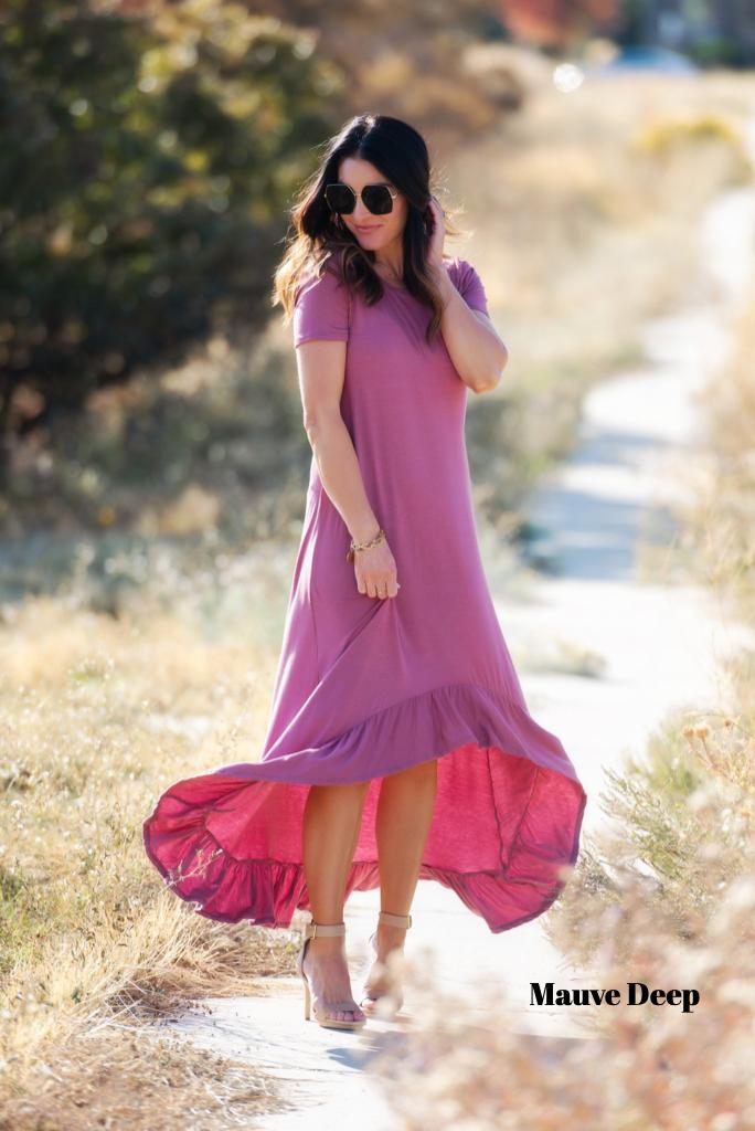 Brigitte Brianna High-Low Jersey Dress - SexyModest Boutique
