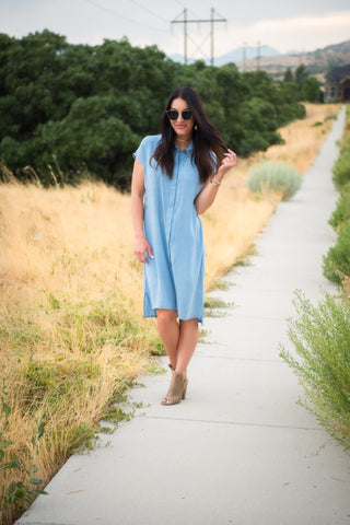 Brigitte Brianna Stone Shirt Dress - SexyModest Boutique