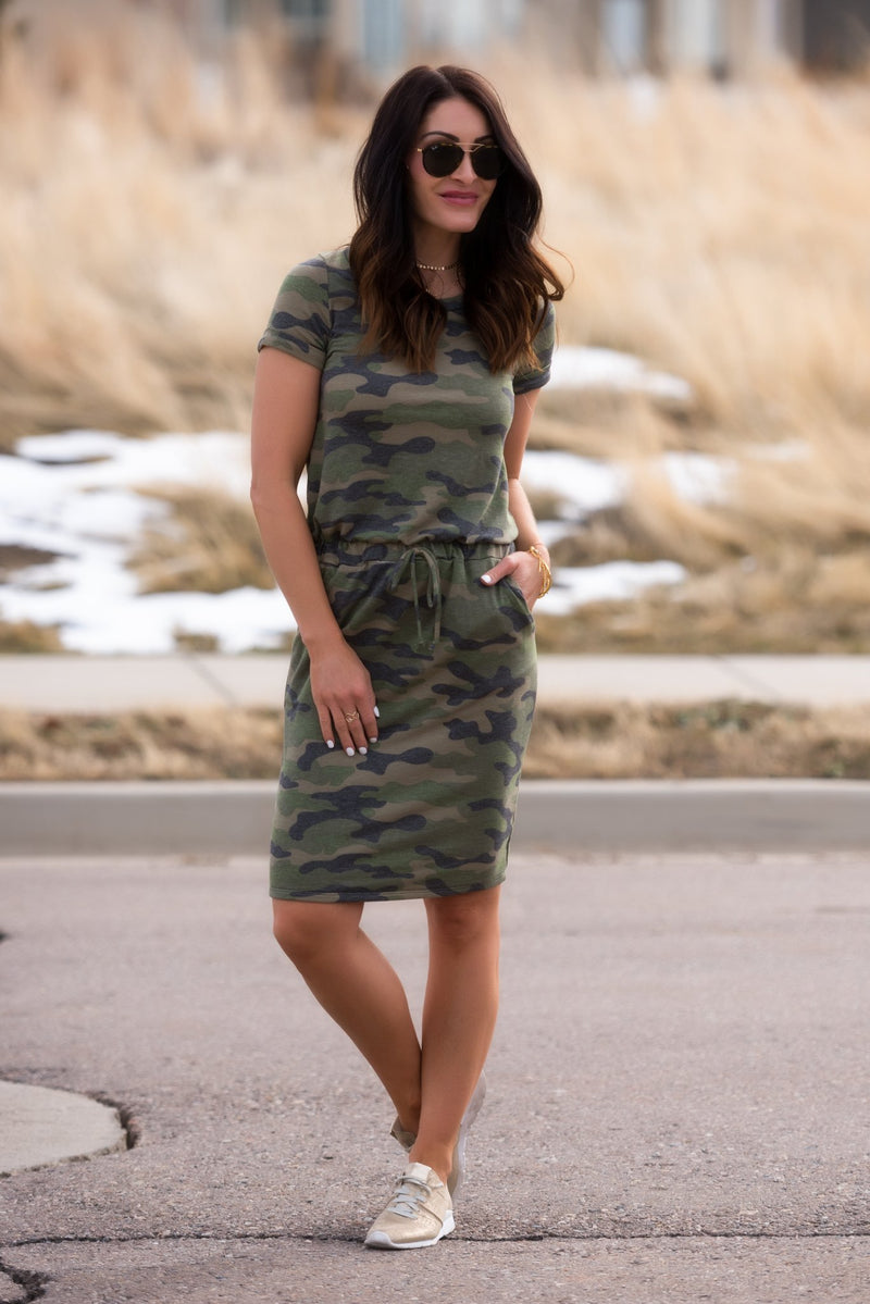 Brigitte Brianna Camo Dress - SexyModest Boutique