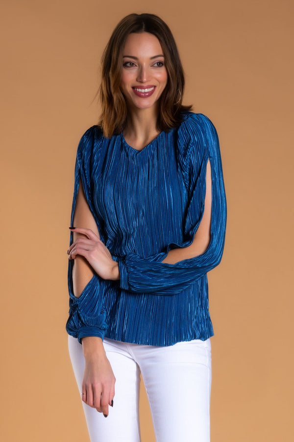 Brigitte Brianna Pleated Slit Sleeve Blouse