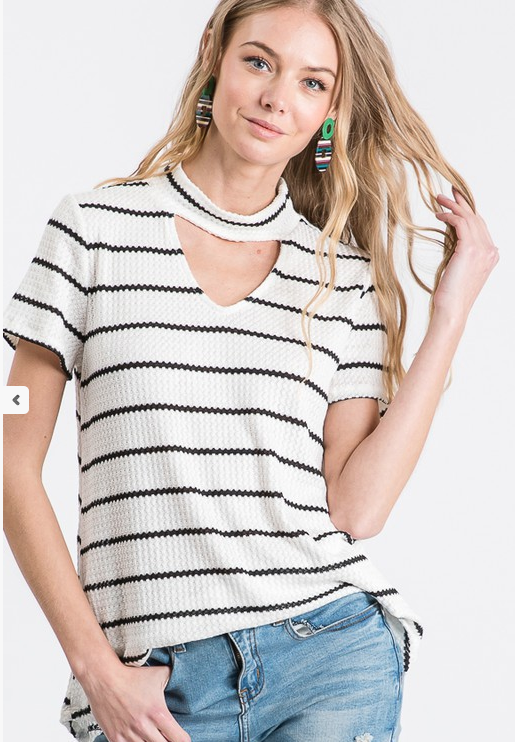 Olivia Striped Choker Top - SexyModest Boutique