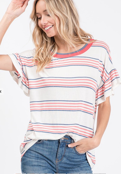Stacia Striped Ruffle Jersey - SexyModest Boutique