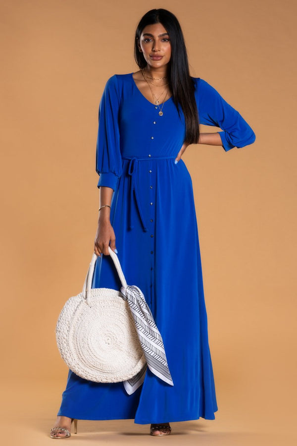Brigitte Brianna V-Neck Maxi Dress