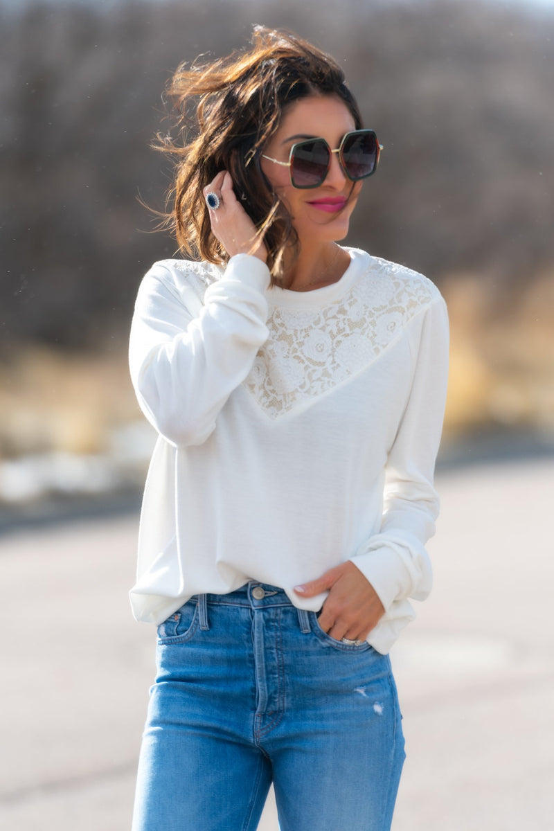 Brigitte Brianna Lace Sweatshirt - SexyModest Boutique