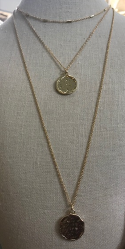 Gold Triple Layer Coin Necklace