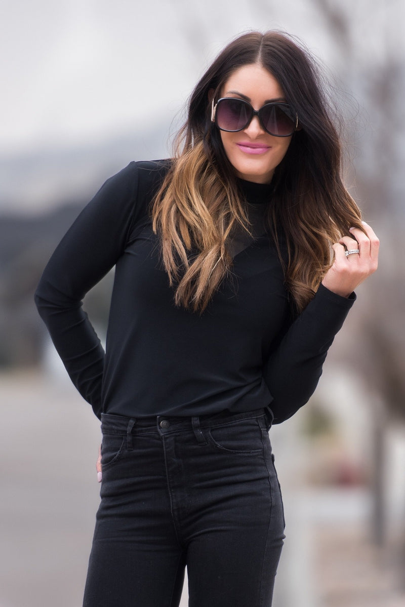 Brigitte Brianna Mesh Turtle Neck - SexyModest Boutique