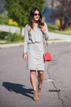 Brigitte Brianna Ruched Wrap Dress - SexyModest Boutique