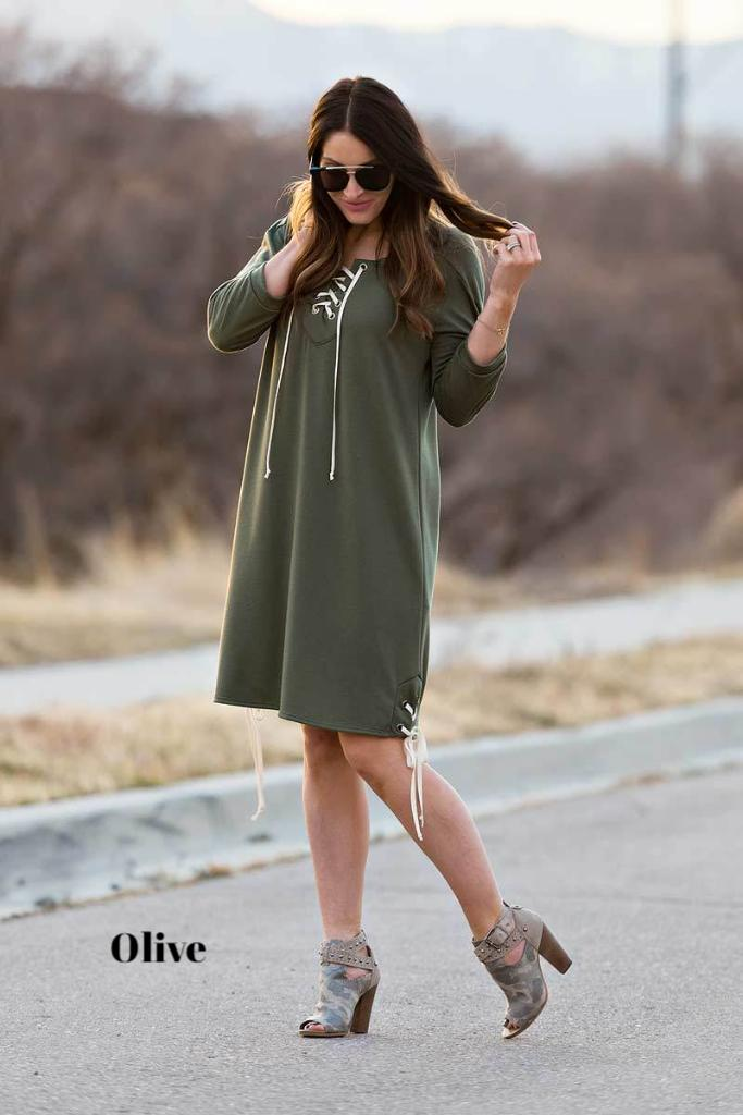 Brigitte Brianna Lace Up Dress - SexyModest Boutique