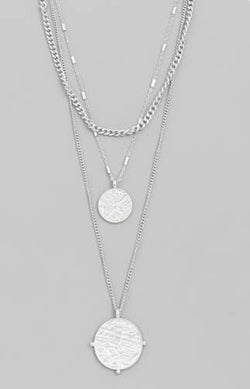 Triple Layer Two Coin Necklace
