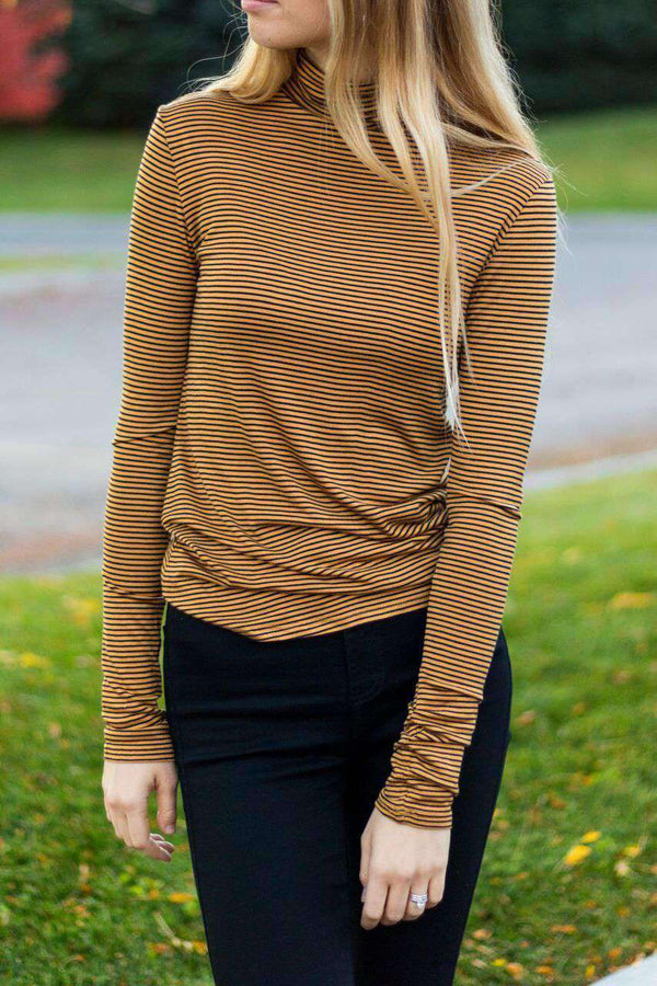 Amy Striped Turtle Neck - SexyModest Boutique