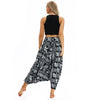 Black with White Pattern Elephant Harem Pants