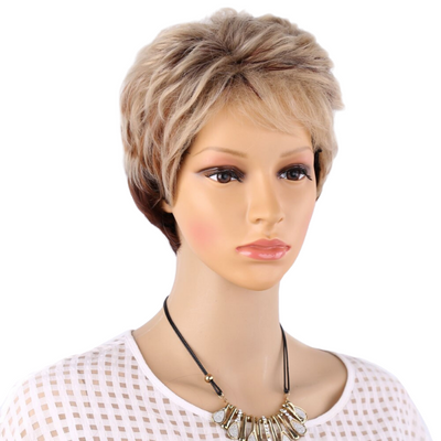 Magnificent Pixie Cut Wig Natural Straight Hair Mixed Color Wig Brown Mixed