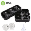 6 Ice Ball Maker Silicone Mold Leak Proof Closure Silicone Ice Tray