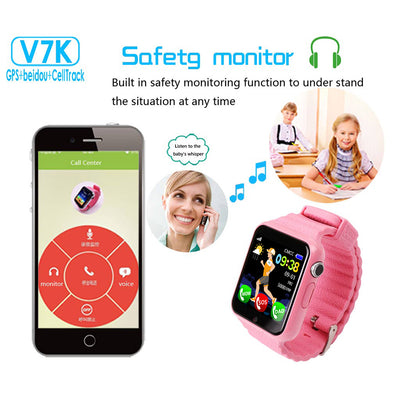V7K Kids Smart Watch BT Fitness Tracker Support Notify/GPS/ SOS Location/ Anti-Lost Smartwatch with Camera
