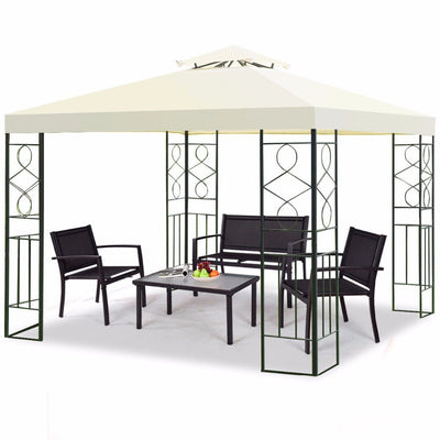 Outsunny Outdoor Patio Gazebo 2-Tier Roof Pavilion Canopy Tent Steel with Curtains - Cream