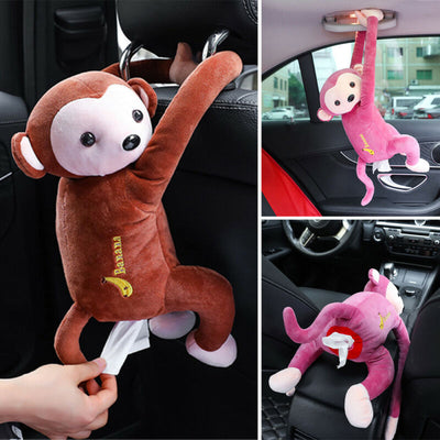Creative Cartoon Monkey Car Hanging Paper Napkin Tissue Box Holder Portable Home Office Paper Box