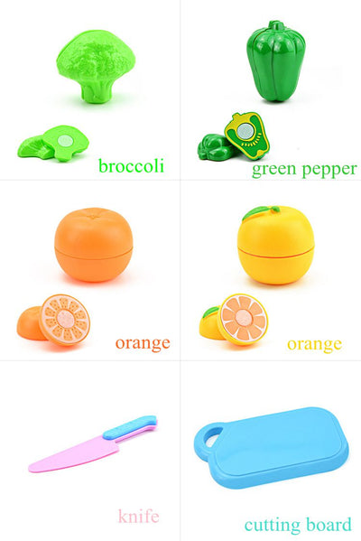Kids Pretend Role Play Kitchen Fruit Vegetable Food Toy Cutting Set Gift