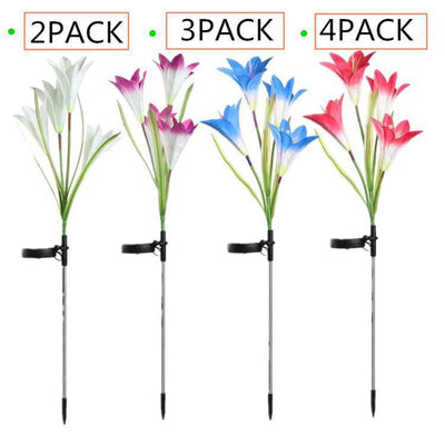 Lily Solar Garden Stake Lights (Pack of 4 Lilies)