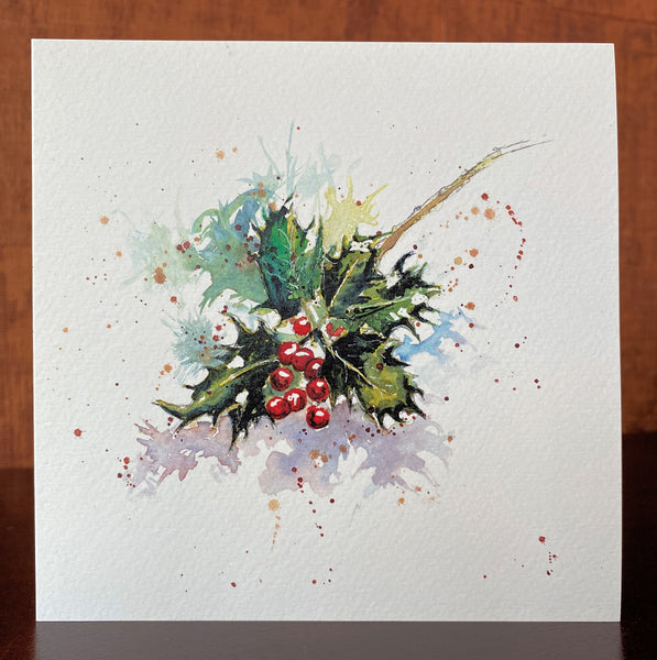 'Holly' Greetings Cards - Pack of 4