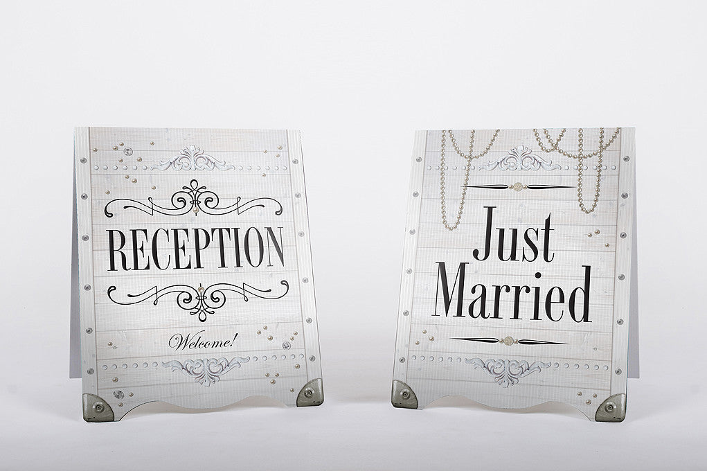 Wedding Sandwich Board Reception Just Married White Classic