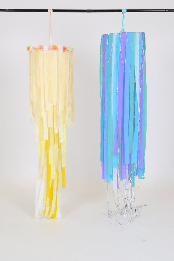 DIY wedding and party hanging decoration. Crepe ribbon chandelier.