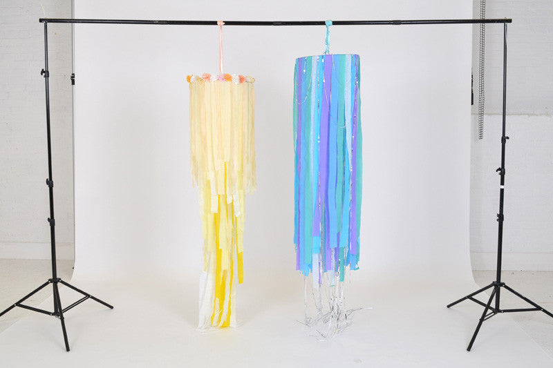 DIY wedding and party hanging decoration. Crepe ribbon chandelier