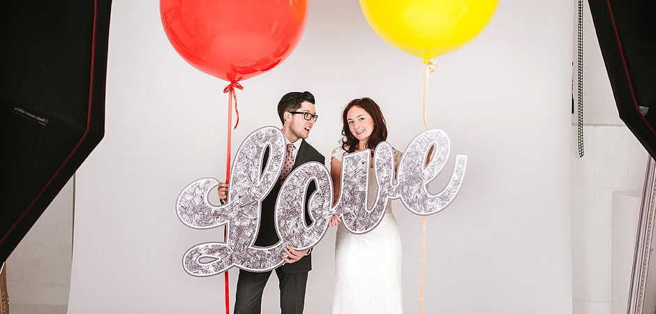 Giant tinsel Love wedding prop sign
