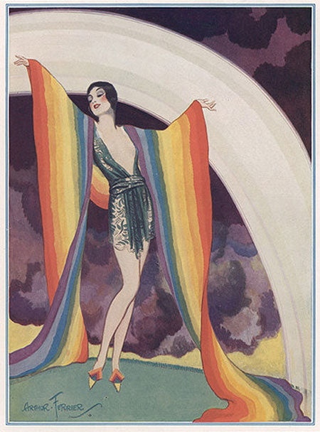 Vintage Rainbow Girl Affordable Art from 55MAX