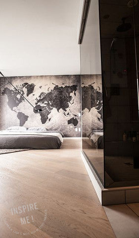 Black Distressed Map Wall Mural