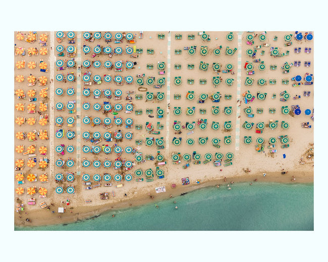Aerial View of Beach Resort, with Parasols Art Print