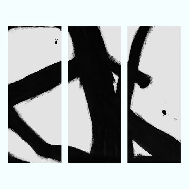 Black And White Splash Abstract Art Print Triptych