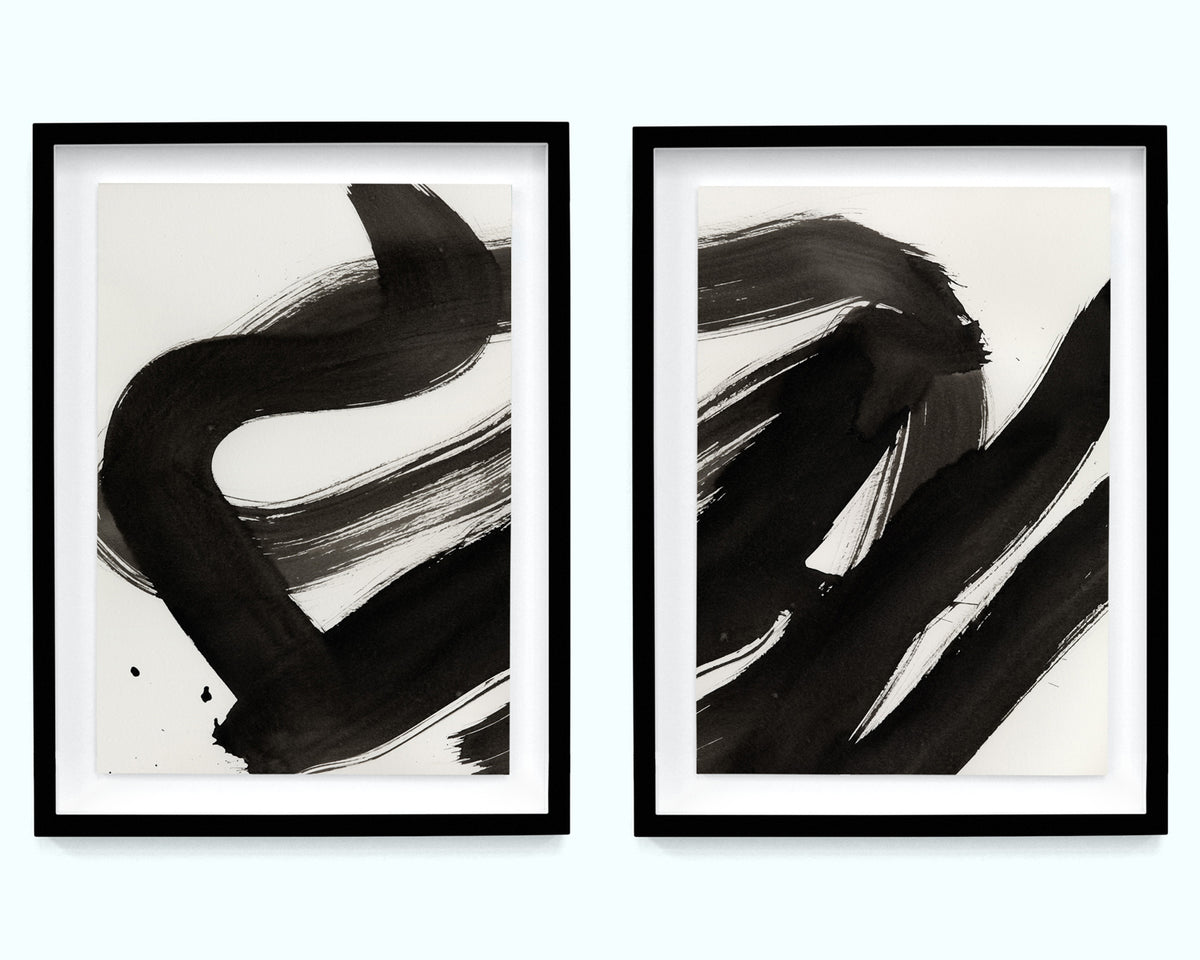 Black Painterly Abstract Art Print Set